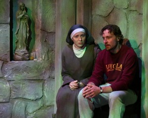 Laura Berner Taylor (Clare Connelly) and Rian Jairell (Father Peter Lentine) in MIRACLES IN THE FALL.