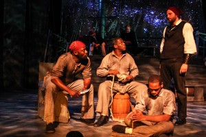 Lionel Gentle, Darren Jones, Alif Muhammad and Joseph Wiens with the cast of Shattered Globe Theatre's Midwest premiere of THE WHALESHIP ESSEX