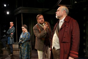 Louis Butelli, Dawn Didawick, Edmund Lewis and Mike McShane in THE TEMPEST by William Shakespeare at South Coast Rep. Photo by Debora Robinson-SCR.
