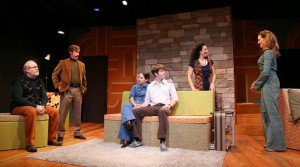 Michael Selkirk, Greg Oliver Bodine as Liam, Alyson Lange, Luke Hofmaier, Christine Verleny, and Laurie Schroeder in DAUGHTERS OF THE SEXUAL REVOLUTION (The WorkShop Theater Company) - photo by Gerry Goodstein
