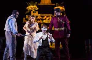 Michael Sumuel, Andriana Chuchman, Kyle Ketelsen, and Antonio Poli in DON GIOVANNI, directed by Robert Falls for Lyric Opera of Chicago. Photo by Todd Rosenberg.