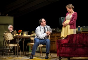 Mike Nussbaum (Colonel), Eric Slater (Daniel) and Katherine Keberlein (Violet) in Noah Haidle's Smokefall at Goodman Theatre