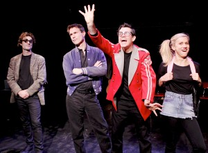 NICHOLAS CUTRO, JEFF WITZKE, BEN CROWLEY, and JEN LANDO in The Blank Theatre's THE WHY. Photo by Anne McGrath