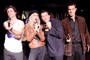 NICHOLAS CUTRO, JEN LANDON, BEN CROWLEY, and JEFF WITZKE in The Blank Theatre's THE WHY. Photo by Anne McGrath