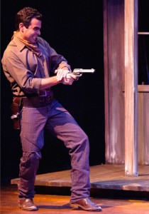 Nick Massouh in Impro Theatre's THE WESTERN UNSCRIPTED at the Falcon Theatre. Photo by Rebecca Asher.
