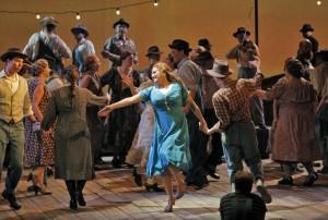 Patricia Racette (Susannah Polk) and chorus in San Francisco Opera's SUSANNAH.