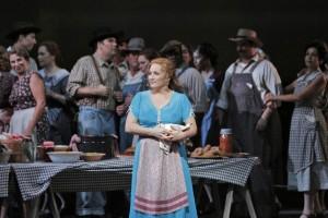 Patricia Racette (Susannah Polk) & chorus in San Francisco Opera's SUSANNAH.