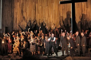 Raymond Aceto (Rev. Olin Blitch) and San Francisco Opera Chorus in SUSANNAH.