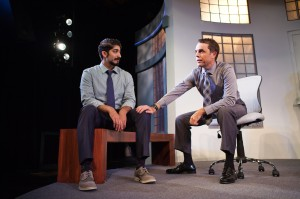 Sandeep (Jason Kapoor) and Brock (Mark Anderson Phillips) try to solve the problem in SF Playhouse's IDEATION. Photo by Jessica Palopoli.