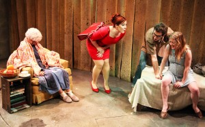 Sarah Gise, Brynne Barnard, Matt Browning and Abbey Smith in Interrobang Theatre Project's production of Caryl Churchill's OWNERS. Photo by Emily Schwartz.