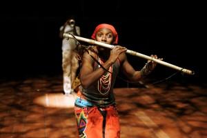 Tamino (Mhlekazi Andy Mosiea) in Isango Ensemble's THE MAGIC FLUTE. Photo by Keith Pattison.