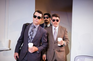 The consulting team, comprised of Brock (Mark Anderson Phillips ), Sandeep (Jason Kapoor) and Ted (Michael Ray Wisely), returns from the road in SF Playhouse's IDEATION. Photo by Jessica Palopoli.