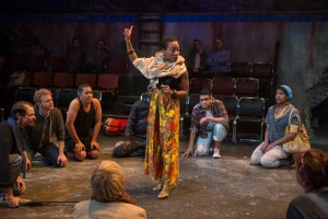 Tiffany Yvonne Cox with ensemble in SEASON ON THE LINE at The House Theatre of Chicago. Photo by Michael Brosilow.
