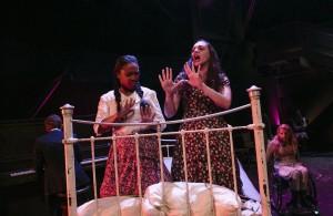 Treshelle Edmond, Lauren Patten, Ali Stroker in Deaf West Theatre's production of SPRING AWAKENING. Photo by Tate Tullier.