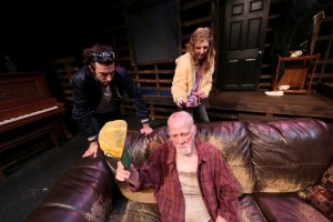 Zachary Mooren, Leon Russom, and Tonya Cornelisse in Whitefire Theatre's BURIED CHILD.