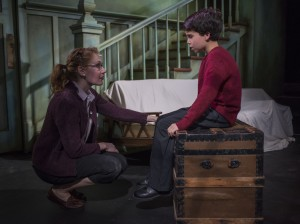 Abigail Boucher and Aaron Lamm in David Mamet's THE CRYPTOGRAM at Profiles Theatre. Photo by Michael Brosilow.