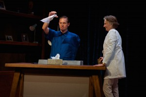 Alex Podulke (as Julian), Barbara Kingsley (as Claire) in Uncanny Valley by Thomas Gibbons. Photo by Seth Freeman.