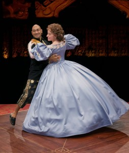 Andrew Ramcharan Guilarte as The King and Heidi Kettenring as Anna in THE KING AND I at The Marriott Theatre. Photo by Mark Campbell.