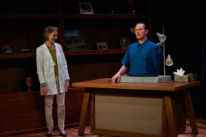 Barbara Kingsley (as Claire), Alex Podulke (as Julian) in Uncanny Valley by Thomas Gibbons. Photo by Seth Freeman.