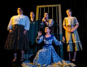 Christine Sinacore, Jennifer Zahlit, Kurt Quinn, Ashley Kane, and Jessica Hopper in Coeurage Theatre Company's CANNIBAL! THE MUSICAL. Photo by Nardeep Khurmi.