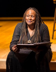 Playwright and performer Dael Orlandersmith in the world premiere of her play FOREVER at the Kirk Douglas Theatre. Photo by Craig Schwartz.
