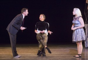 Hubbard Street + The Second City in The Art of Falling, from left: Tim Mason, Jessica Tong and Carisa Barreca. Photo by Todd Rosenberg.