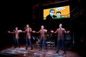 Hayden Milanes, Quinn VanAntwerp, Nicolas Dromard and Adam Zelasko in JERSEY BOYS (National Tour). Photo by Jeremy Daniel.