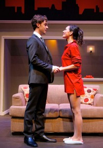 Jason Dechert and Jules Willcox star in A OR B? at the Falcon Theatre.