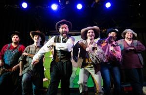 Jason Peter Kennedy, Scott Kruse, Peter Larney, Kurt Quinn, Travis Dixon, and Joshua Hoover in Coeurage Theatre Company's CANNIBAL! THE MUSICAL. Photo by Nardeep Khurmi.