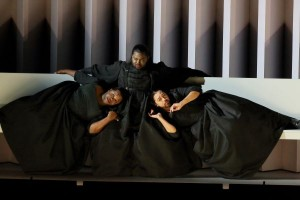 John Holiday (center) as the Sorceress, with G. Thomas Allen (left) as the First Witch and Darryl Taylor (right) as the Second Witch in L.A. Opera's DIDO AND AENEAS - photo by Craig Mathew.