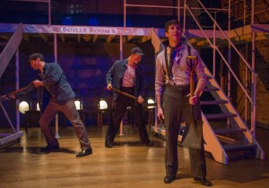 Kevin Stangler, Josh Kohane and Justin Adair in Griffin Theatre Company's production of TITANIC. Photo by Michael Brosilow.