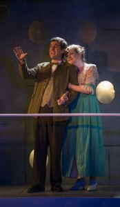Matt Edmonds and Laura McClain in Griffin Theatre Company's production of TITANIC. Photo by Michael Brosilow.