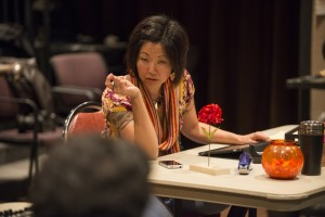 Mia Park in THE HUNDRED FLOWERS PROJECT at Silk Road Rising. Photo by Michael Brosilow.