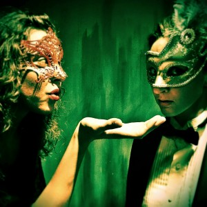 Moira Begale and Becky Blomgren in MASQUE OF THE RED DEATH, part of ALL GIRL EDGAR ALLAN POE. Photo by Bob Fisher.