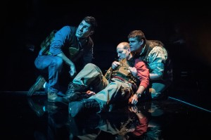 Nick Paglino, Gregory Konow and Jarrod Zayas in James Dickey's Deliverance at 59E59 Theaters. Photo by Jason Woodruff.