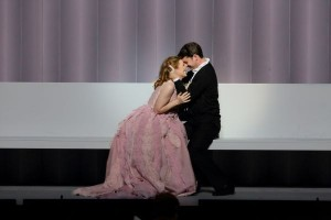 Paula Murrihy as Dido and Liam Bonner as Aeneas in L.A. Opera's DIDO AND AENEAS - photo by Craig Mathew.