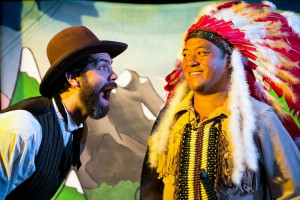 Peter Larney and Mikey De Lara in Coeurage Theatre Company's CANNIBAL! THE MUSICAL. Photo by Nardeep Khurmi.