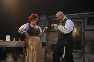 Rebecca Finnegan and David Girolmo in Porchlight Music Theatre's production of SWEENEY TODD - photo by Brandon Dahlquist.