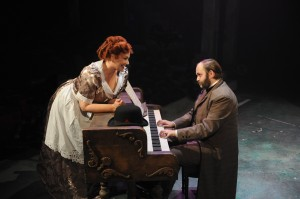 Rebecca Finnegan and Matthias Austin in Porchlight Music Theatre's production of SWEENEY TODD - photo by Brandon Dahlquist.