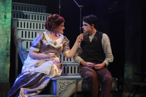 Rebecca Finnegan and Miles Blim in Porchlight Music Theatre's production of SWEENEY TODD - photo by Brandon Dahlquist.