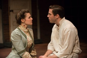 Sarah Bockel as Lucille and Jim DeSelm as Leo in BoHo Theatre's production of PARADE.