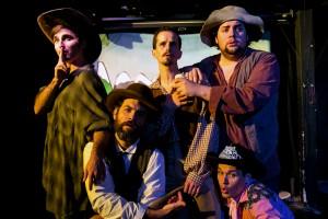 Scott Kruse, Peter Larney, Kurt Quinn, Joshua Hoover, and Travis Dixon in Coeurage Theatre Company's CANNIBAL! THE MUSICAL. Photo by Nardeep Khurmi.
