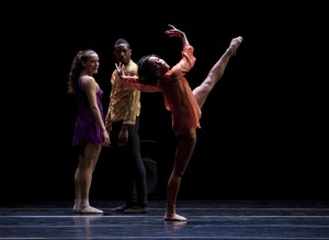 Stephanie Amurao (in front) with Julia Eichten and Randy Castillo in William Forsythe's QUINTETT by L.A. Dance Project. Photo by Rose Eichenbaum.
