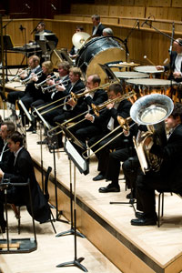 The brass and percussion sections of the London Philharmonic Orchestra (Photo © Richard Cannon)