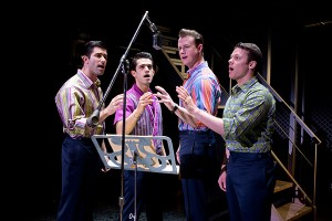 (l to r) Adam Zelasko, Hayden Milanes, Quinn VanAntwerp and Nicolas Dromard in JERSEY BOYS (National Tour). Photo by Jeremy Daniel.