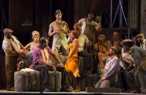 Eric Greene, Adina Aaron, and Jermaine Smith in PORGY AND BESS at Lyric Opera of Chicago. Photo by Todd Rosenberg.