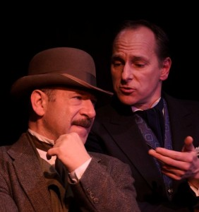 Adam Bitterman and James Sparling in City Lit Theater's HOLMES AND WATSON, playing through December 14 - photo by Tom McGrath.