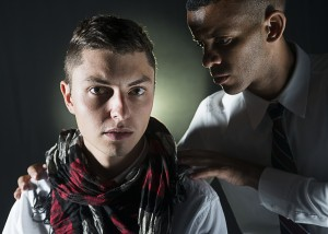 Adam Odsess-Rubin and Taj Campbell in NCTC's production of SHAKESPEARE'S R&J. Photo by Lois Tema.
