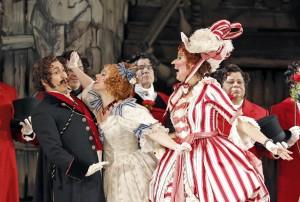 Efraín Solís (Dandini), Maria Valdes (Clorinda) and Zanda Švēde (Tisbe) in San Francisco Opera's LA CENERENTOLA. Photo by Cory Weaver.