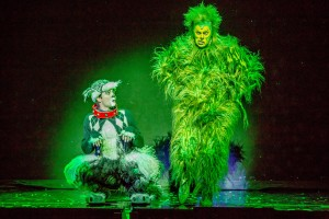 """Aleksa Kurbalija as Max and Shuler Hensley as The Grinch in """"Dr. Seuss' How The Grinch Stole Christmas! The Musical,"""" running Nov. 20-29 at The Chicago Theatre. Photo by Bruce Oglesby-Bluemoon Studios"""